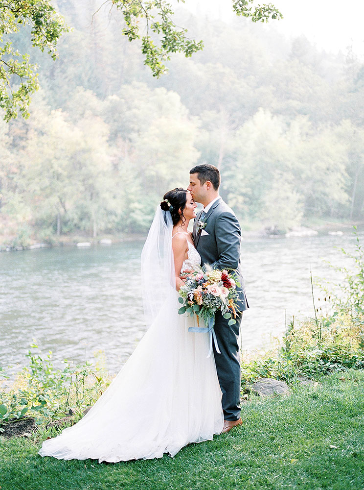 Bride & Groom by the River - Rogue River wedding
